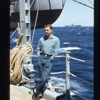 Marr on patrol on Naval ship off Nth Korea, USS Manchester