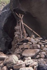 Rock wall and sticks