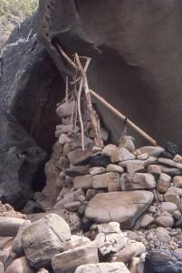 rocks in rock overhang