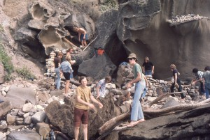 students building rock walls